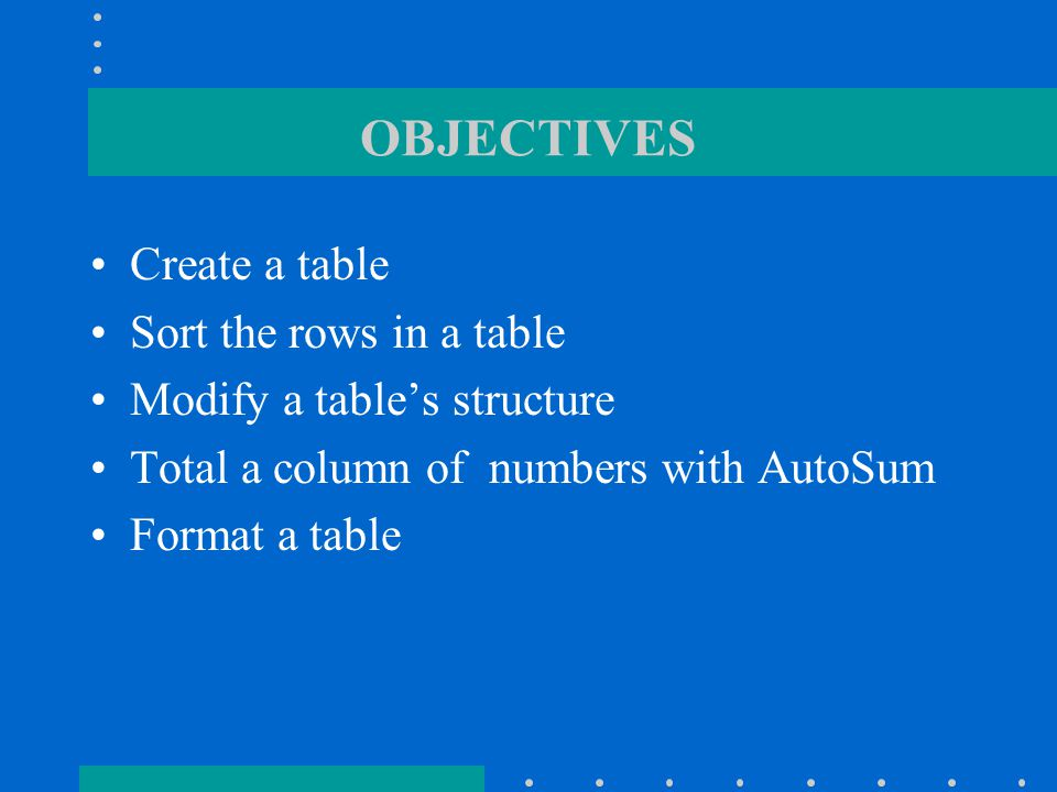 OBJECTIVES Set tab stops Divide a document into sections Change the vertical alignment of a section Center a page between the top and bottom margins Create a header with page numbers