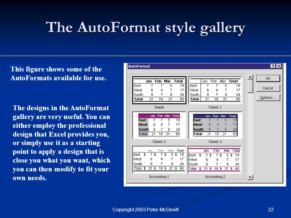 22Copyright 2003 Peter McDevitt The AutoFormat style gallery This figure shows some of the AutoFormats available for use.