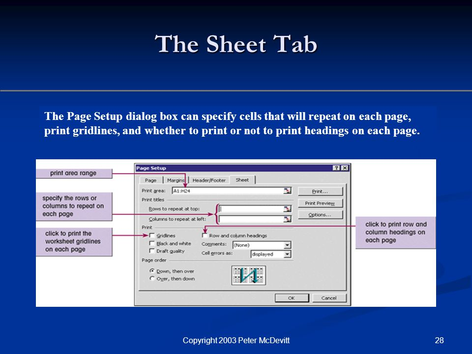 28Copyright 2003 Peter McDevitt The Sheet Tab The Page Setup dialog box can specify cells that will repeat on each page, print gridlines, and whether to print or not to print headings on each page.