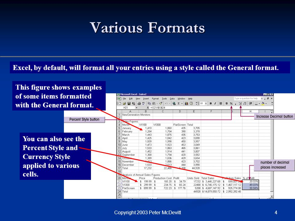 4Copyright 2003 Peter McDevitt Various Formats Excel, by default, will format all your entries using a style called the General format.