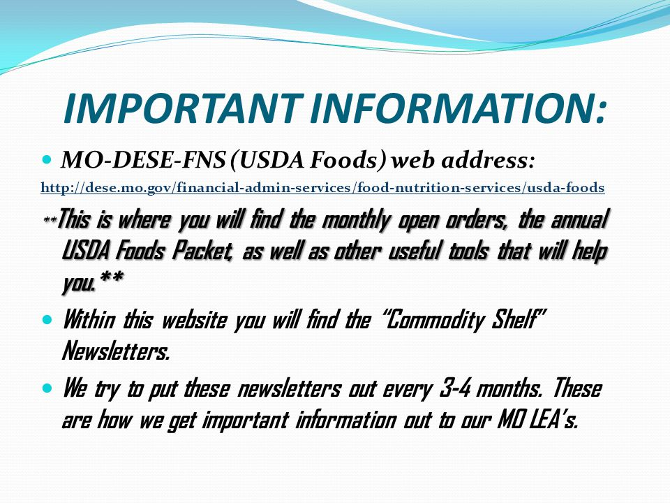 Mo Dese Commodity Order Form on