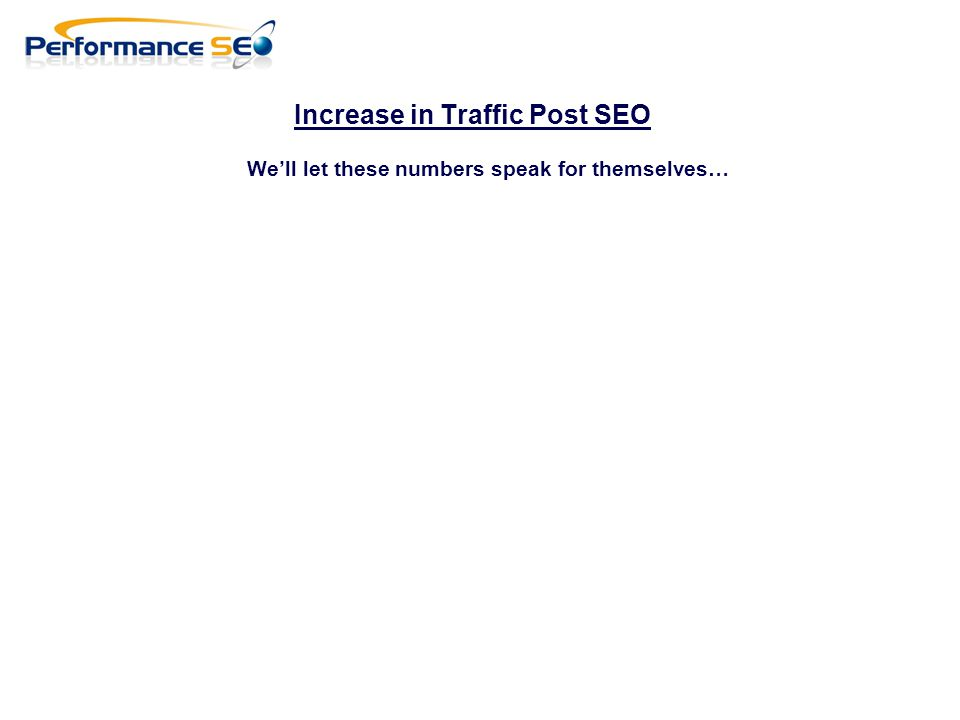 Increase in Traffic Post SEO We'll let these numbers speak for themselves…