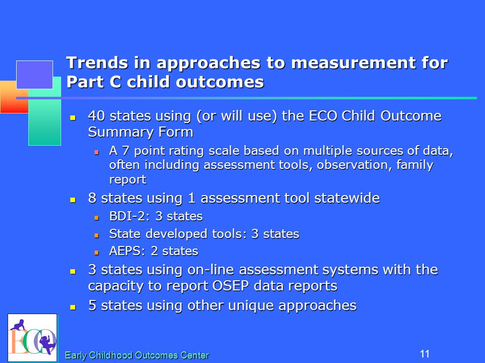 Preparing Professionals to Measure Outcomes: the National View Kathy Hebbeler OSEP Project Directors Meeting July, 2007 Early Childhood Outcomes Center