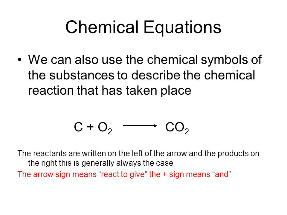 Chemical Equations We can also use the chemical symbols of the substances to describe the chemical reaction that has taken place C + O 2 CO 2 The reactants are written on the left of the arrow and the products on the right this is generally always the case The arrow sign means react to give the + sign means and