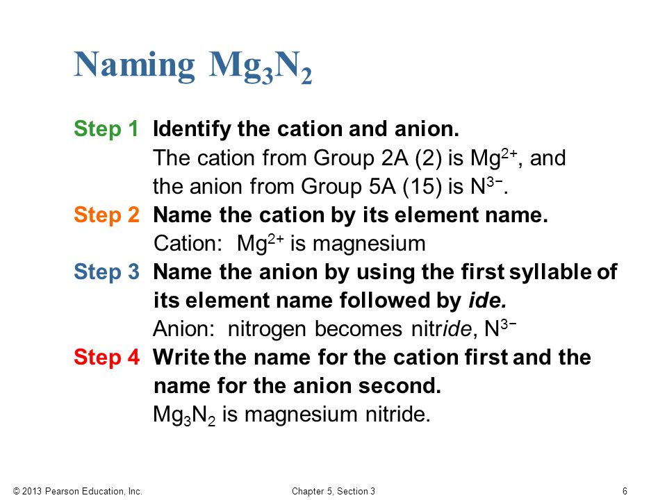 © 2013 Pearson Education, Inc. Chapter 5, Section 3 6 Step 1 Identify the cation and anion.