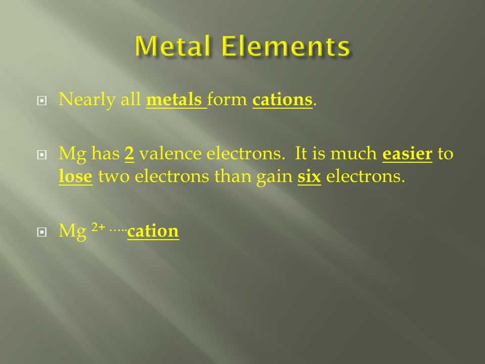  Nearly all metals form cations.  Mg has 2 valence electrons.