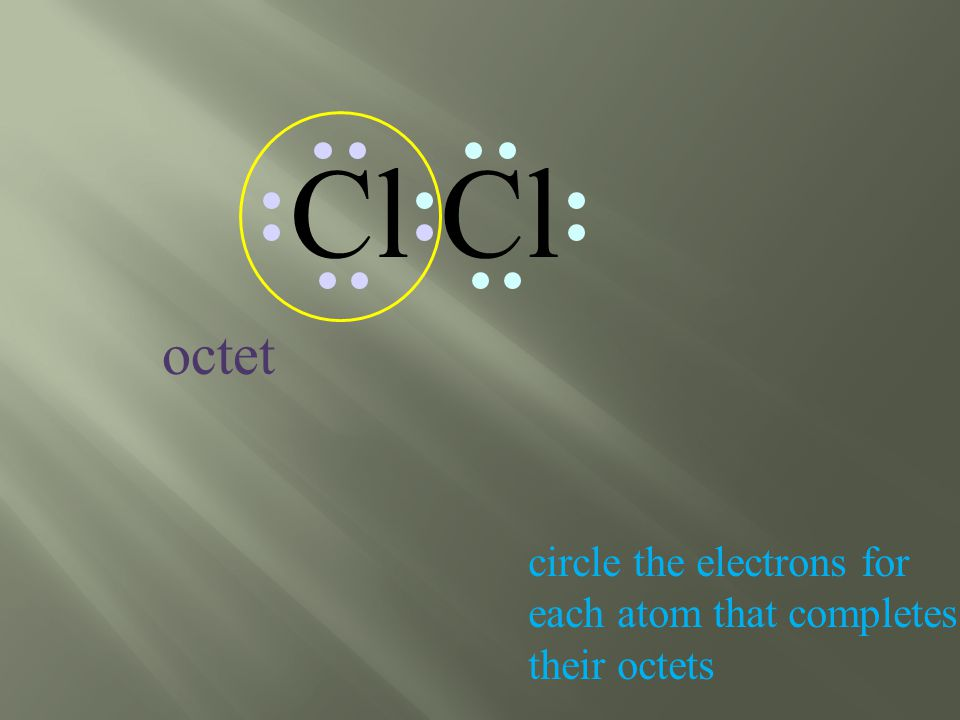 Cl circle the electrons for each atom that completes their octets octet
