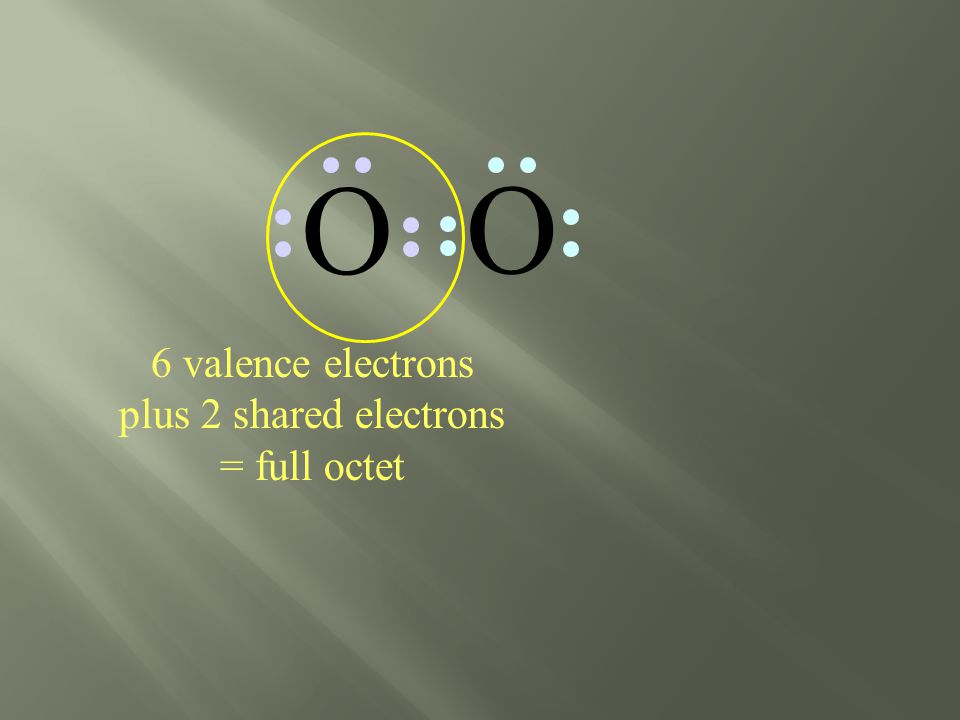6 valence electrons plus 2 shared electrons = full octet O O
