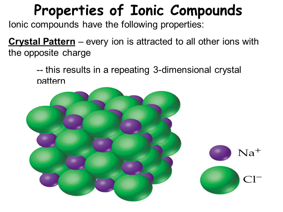 Properties of Ionic Compounds Ionic compounds have the following properties: Crystal Pattern – every ion is attracted to all other ions with the opposite charge -- this results in a repeating 3-dimensional crystal pattern
