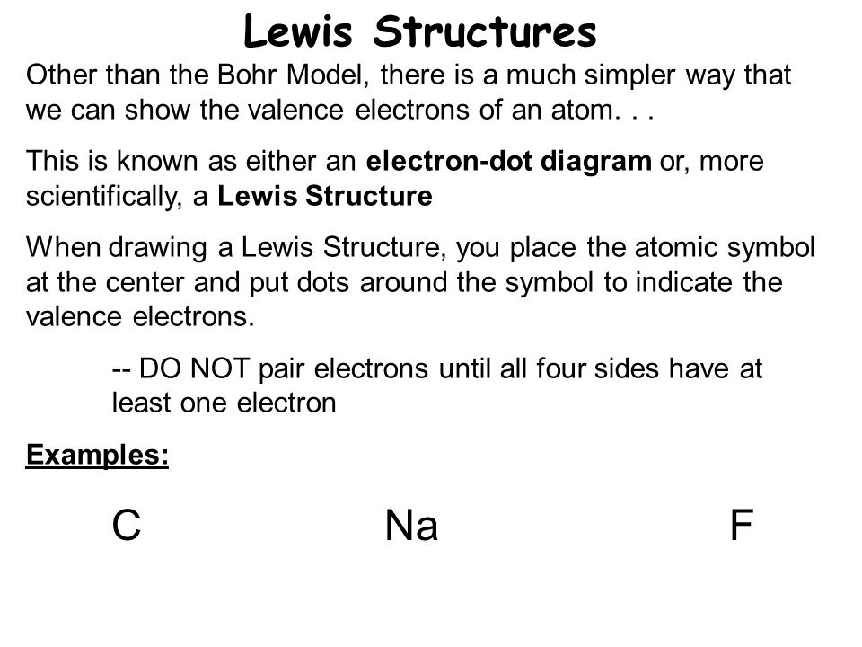 Lewis Structures Other than the Bohr Model, there is a much simpler way that we can show the valence electrons of an atom...