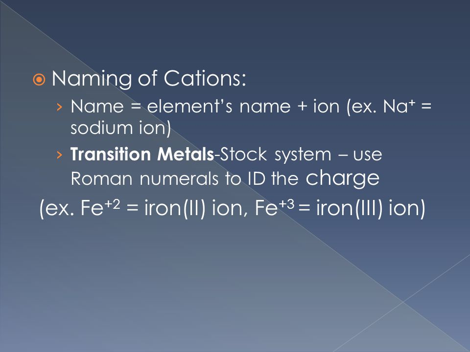  Naming of Cations: › Name = element's name + ion (ex.