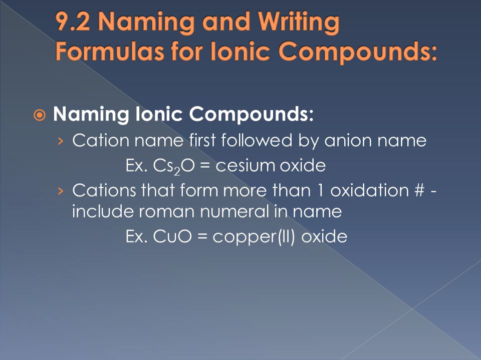  Naming Ionic Compounds: › Cation name first followed by anion name Ex.