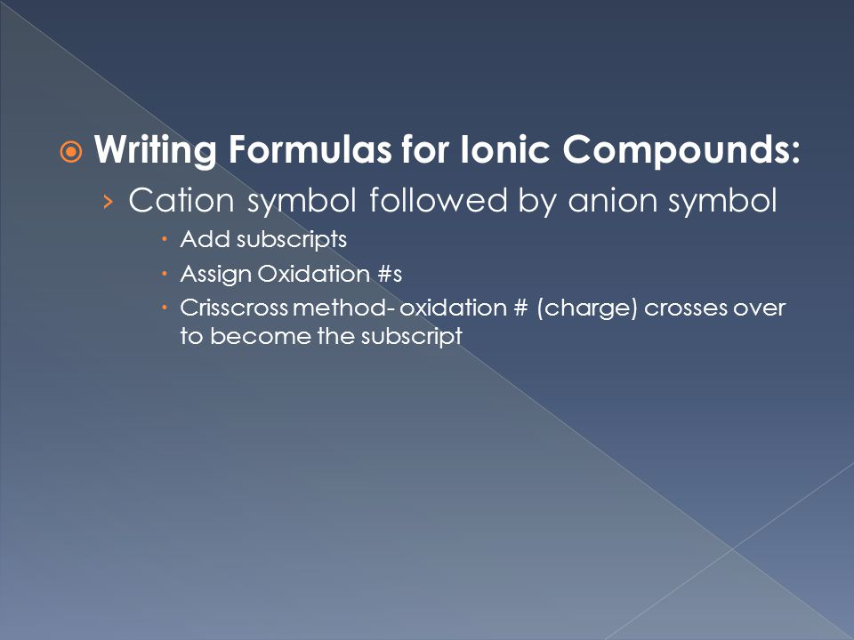 Writing Formulas for Ionic Compounds: › Cation symbol followed by anion symbol  Add subscripts  Assign Oxidation #s  Crisscross method- oxidation # (charge) crosses over to become the subscript