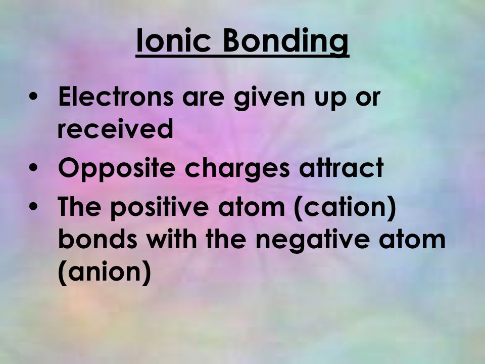 Ionic Bonding Electrons are given up or received Opposite charges attract The positive atom (cation) bonds with the negative atom (anion)
