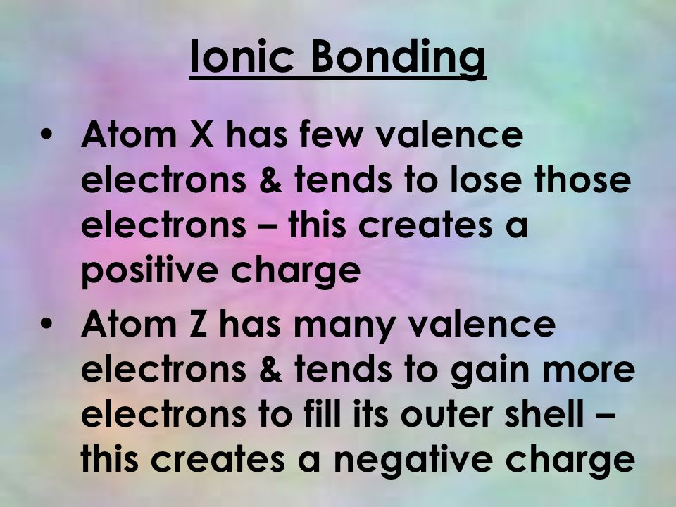 Ionic Bonding Atom X has few valence electrons & tends to lose those electrons – this creates a positive charge Atom Z has many valence electrons & tends to gain more electrons to fill its outer shell – this creates a negative charge