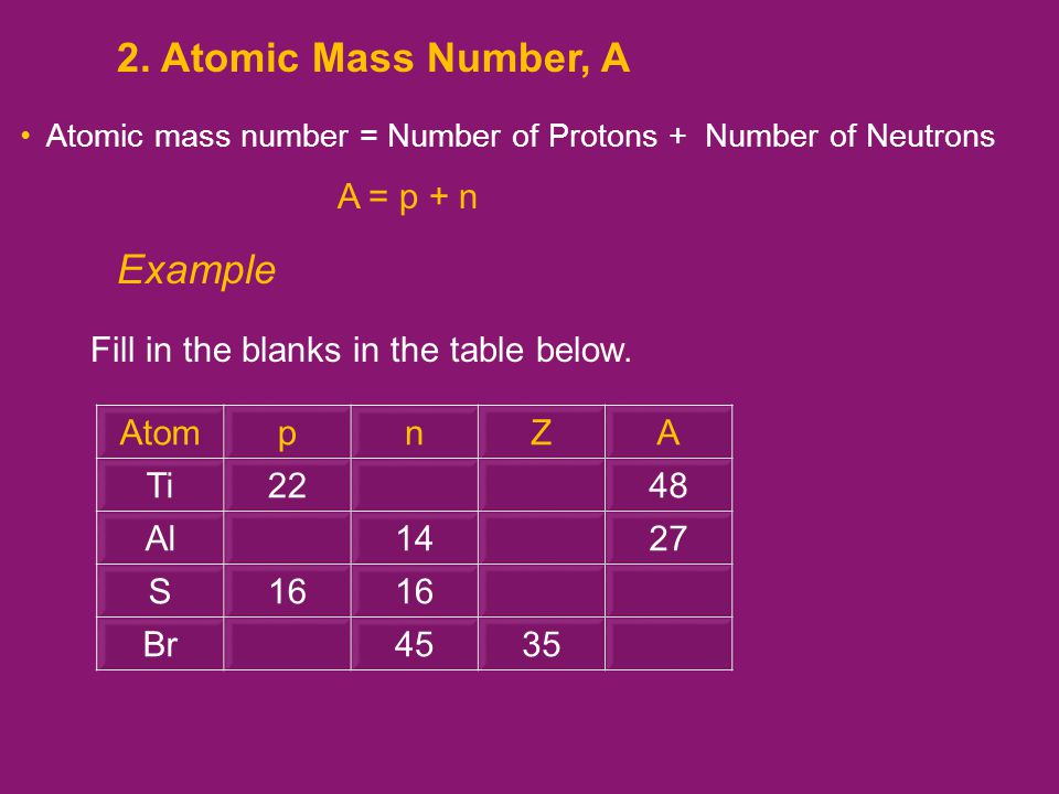 Atomic mass number = Number of Protons + Number of Neutrons A = p + n 2.