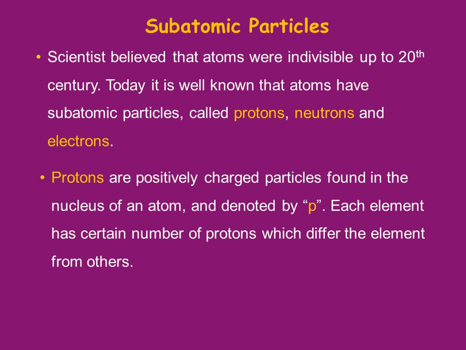 Subatomic Particles Scientist believed that atoms were indivisible up to 20 th century.