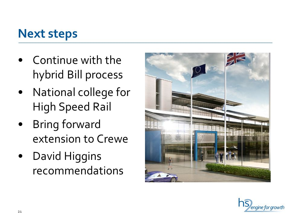 Next steps Continue with the hybrid Bill process National college for High Speed Rail Bring forward extension to Crewe David Higgins recommendations 21