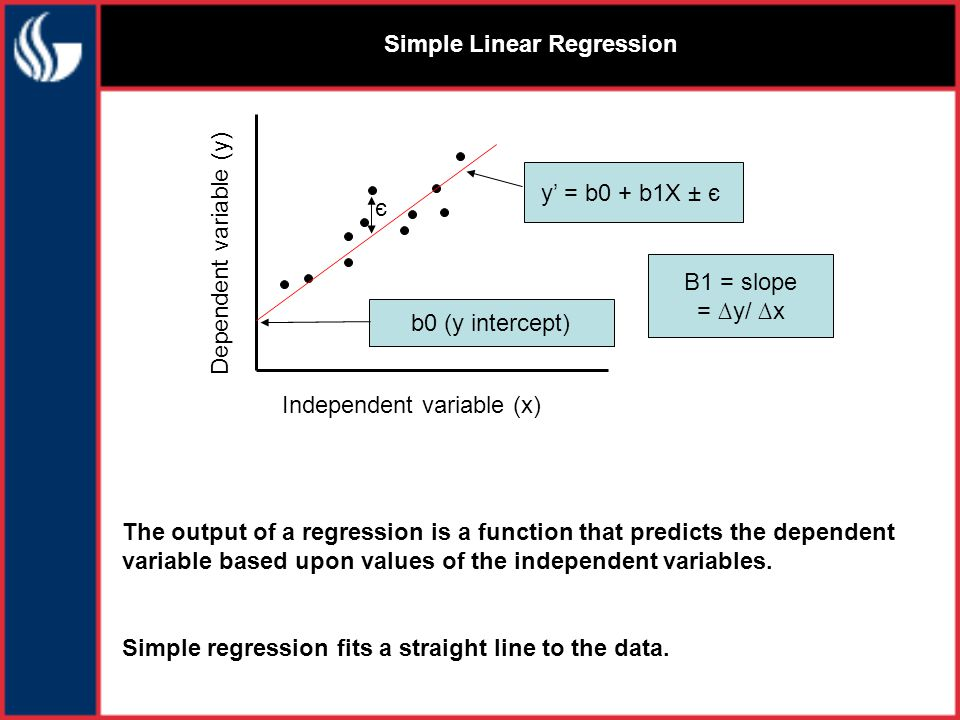 Simple Linear Regression Independent variable (x) Dependent variable (y) The output of a regression is a function that predicts the dependent variable based upon values of the independent variables.