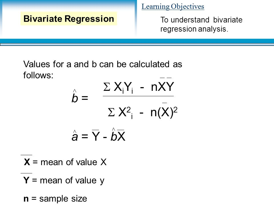 Learning Objectives Values for a and b can be calculated as follows: To understand bivariate regression analysis.
