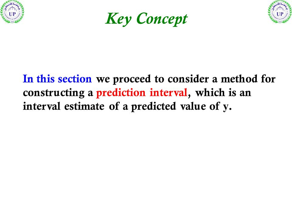 Key Concept In this section we proceed to consider a method for constructing a prediction interval, which is an interval estimate of a predicted value of y.