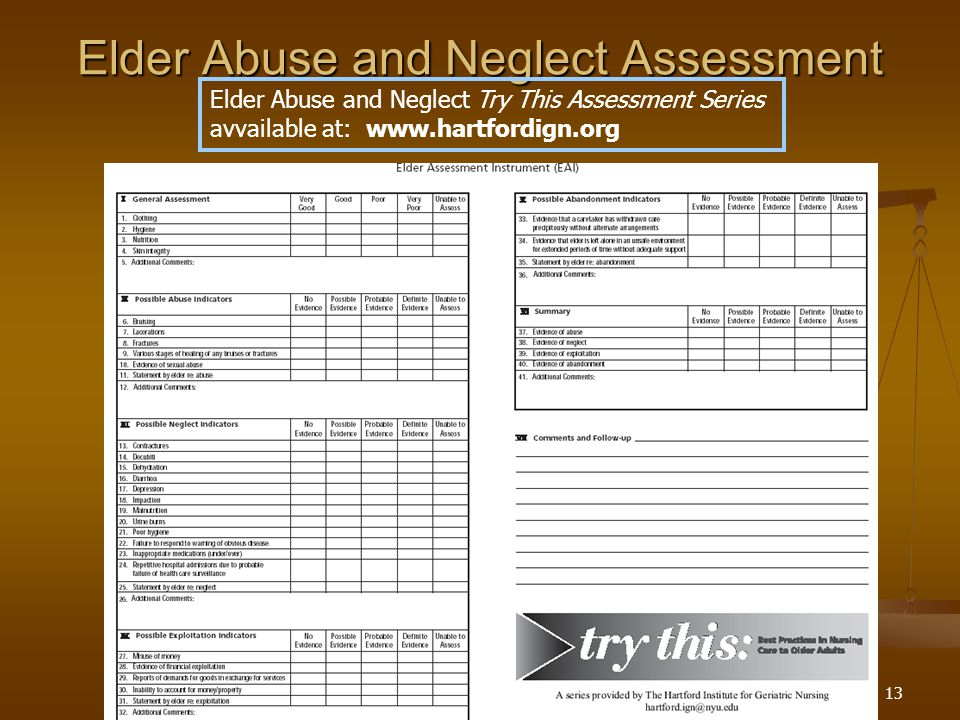 13 Elder Abuse and Neglect Assessment Elder Abuse and Neglect Try This Assessment Series avvailable at: