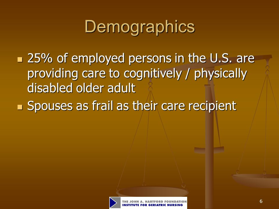 6 Demographics 25% of employed persons in the U.S.