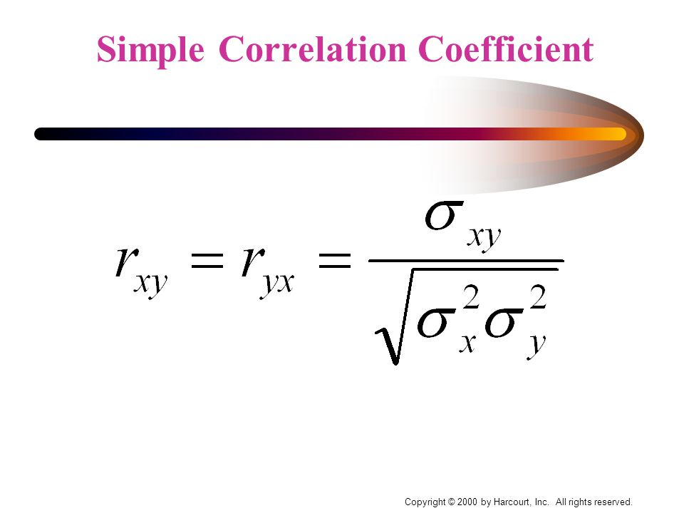 Copyright © 2000 by Harcourt, Inc. All rights reserved. Simple Correlation Coefficient