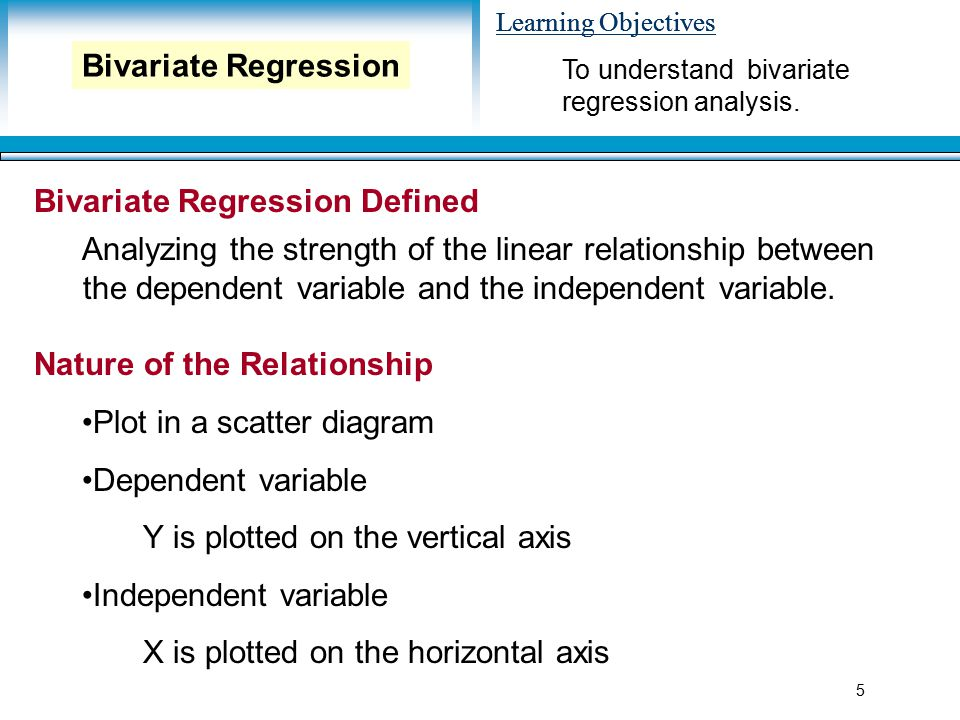 Learning Objectives 5 Bivariate Regression Defined Analyzing the strength of the linear relationship between the dependent variable and the independent variable.