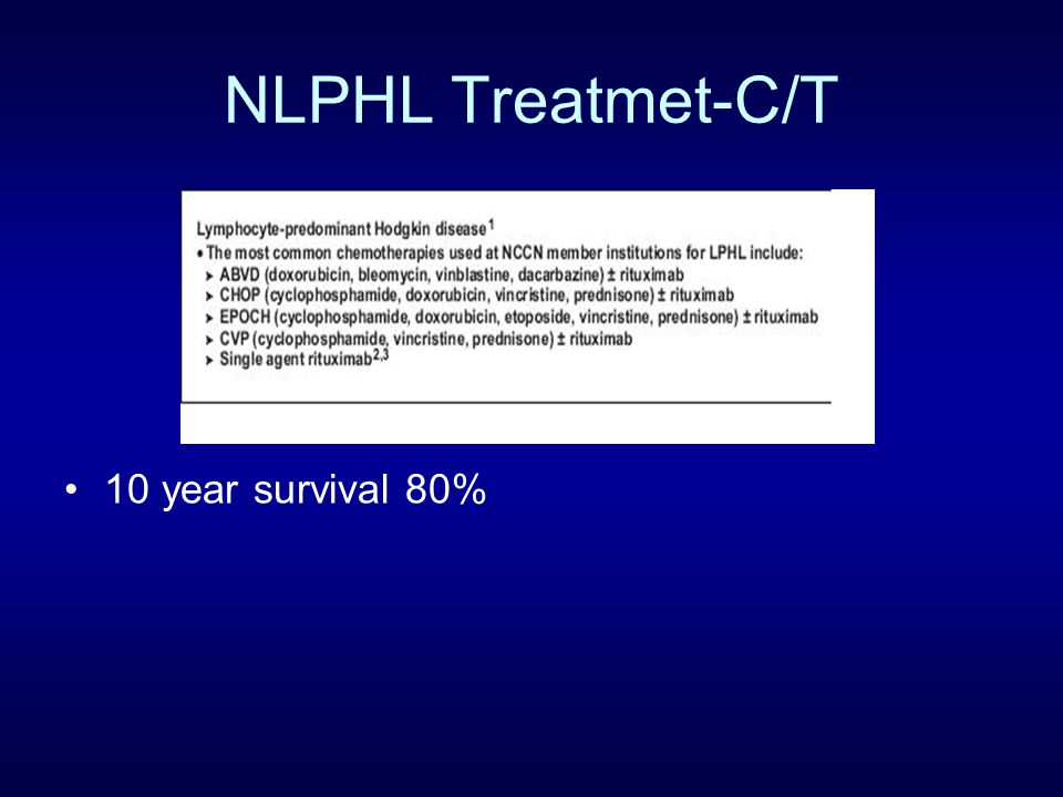 NLPHL Treatmet-C/T 10 year survival 80%