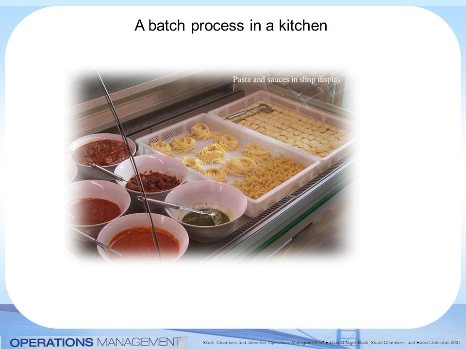 Slack, Chambers and Johnston, Operations Management 5 th Edition © Nigel Slack, Stuart Chambers, and Robert Johnston 2007 A batch process in a kitchen