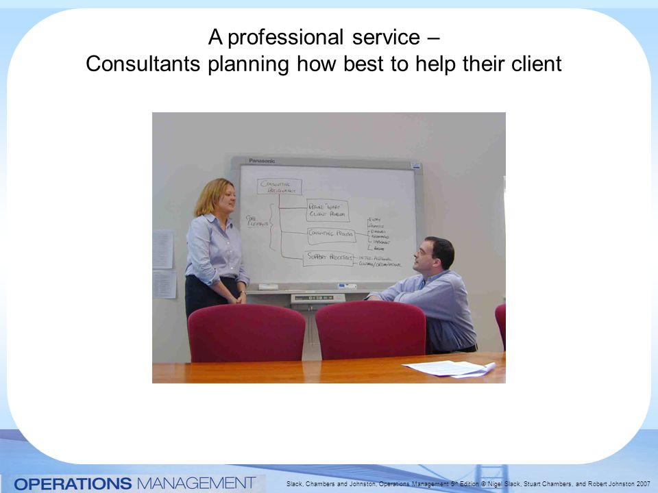 Slack, Chambers and Johnston, Operations Management 5 th Edition © Nigel Slack, Stuart Chambers, and Robert Johnston 2007 A professional service – Consultants planning how best to help their client