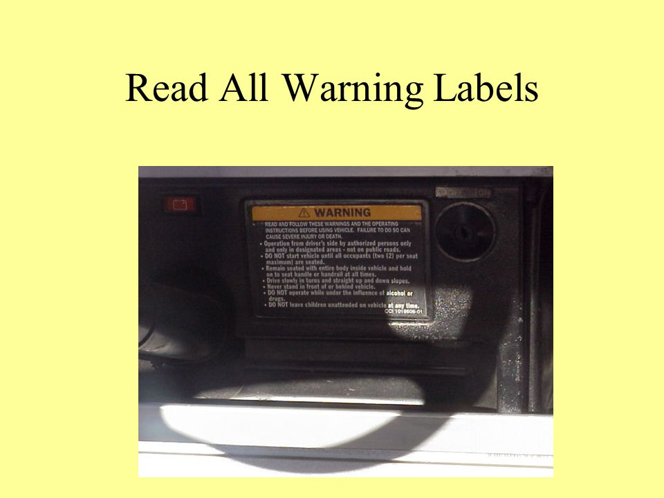 Read All Warning Labels