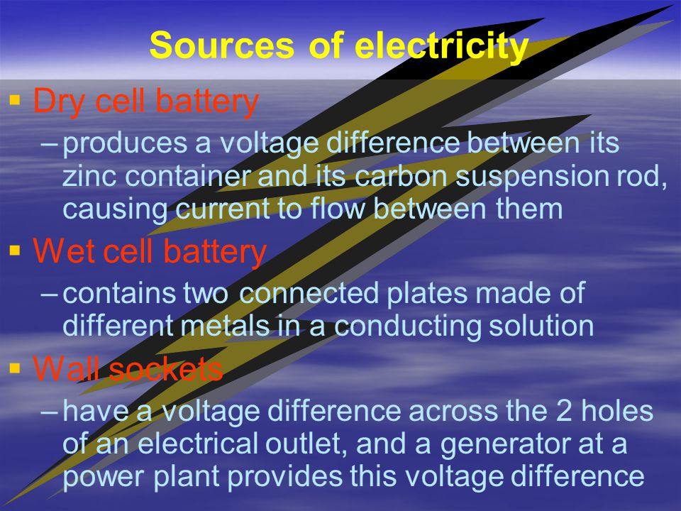   Electric Current – –The flow of charges through a wire or conductor   Current is usually the flow of electrons.