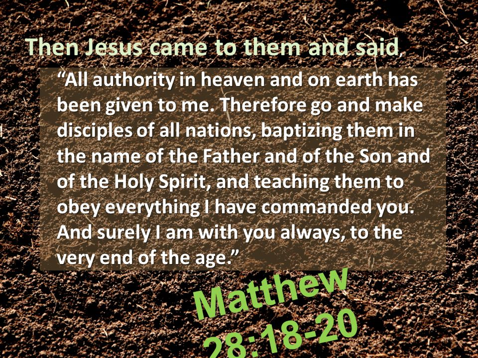 All authority in heaven and on earth has been given to me.
