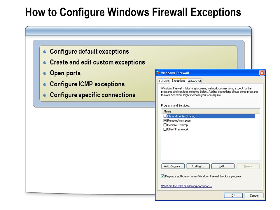 How to Configure Windows Firewall Exceptions Configure default exceptions Create and edit custom exceptions Open ports Configure ICMP exceptions Configure specific connections Configure default exceptions Create and edit custom exceptions Open ports Configure ICMP exceptions Configure specific connections