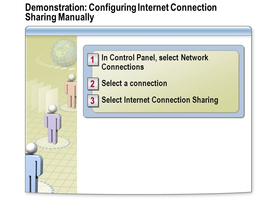 Demonstration: Configuring Internet Connection Sharing Manually In Control Panel, select Network Connections Select a connection Select Internet Connection Sharing In Control Panel, select Network Connections Select a connection Select Internet Connection Sharing