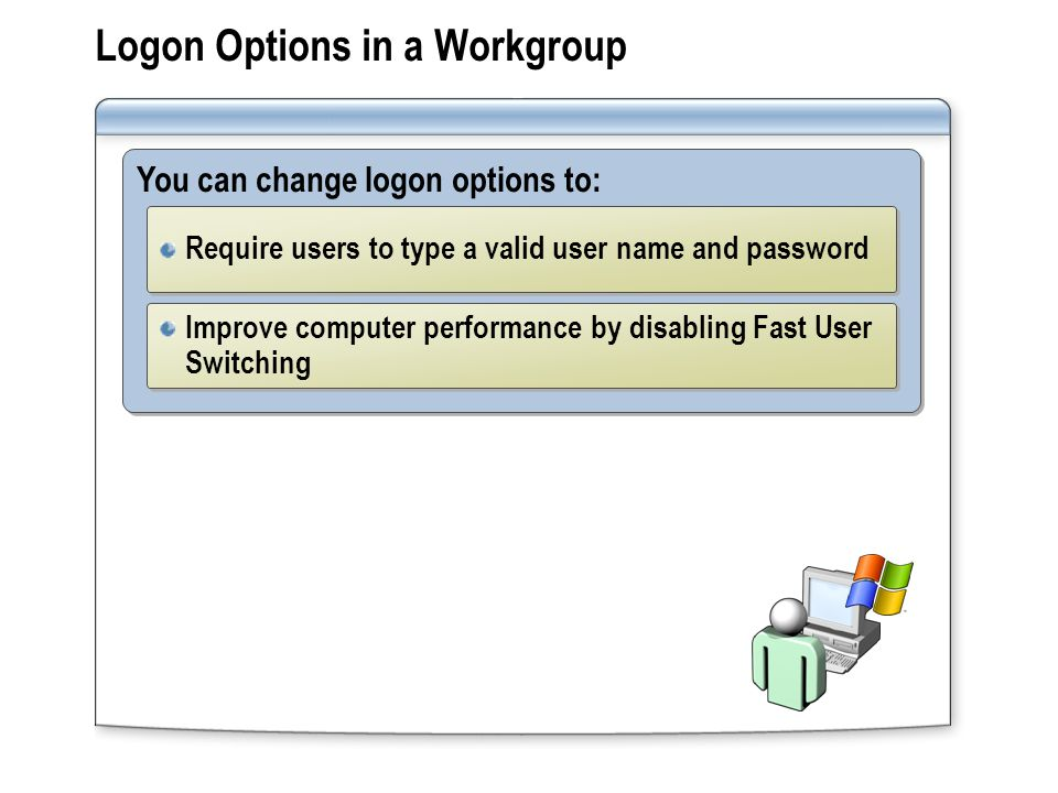 Logon Options in a Workgroup You can change logon options to: Require users to type a valid user name and password Improve computer performance by disabling Fast User Switching