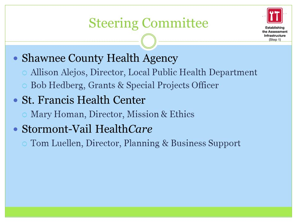 Steering Committee Shawnee County Health Agency  Allison Alejos, Director, Local Public Health Department  Bob Hedberg, Grants & Special Projects Officer St.