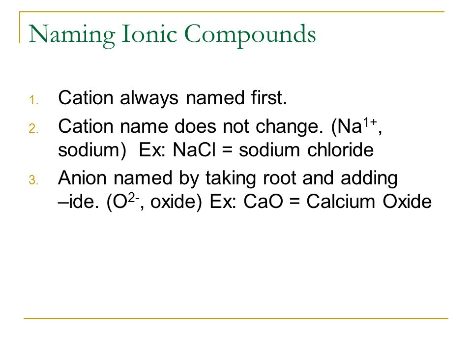 Naming Ionic Compounds 1. Cation always named first.