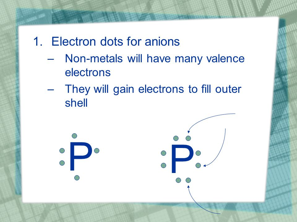 1.Electron dots for anions –Non-metals will have many valence electrons –They will gain electrons to fill outer shell P P