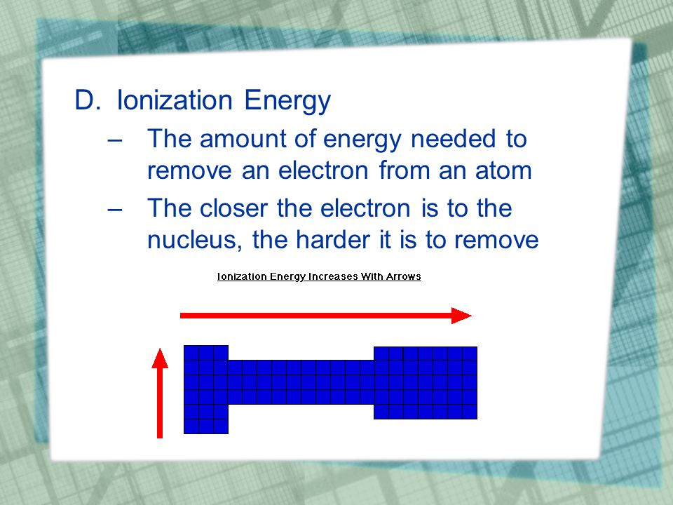 D.Ionization Energy –The amount of energy needed to remove an electron from an atom –The closer the electron is to the nucleus, the harder it is to remove