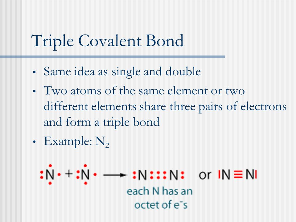Triple Covalent Bond Same idea as single and double Two atoms of the same element or two different elements share three pairs of electrons and form a triple bond Example: N 2