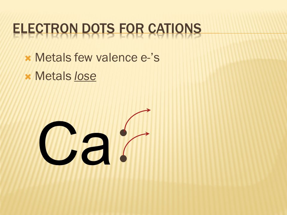  Metals have few valence e-'s (usually 3 or less); calcium has only 2 valence e-'s Ca