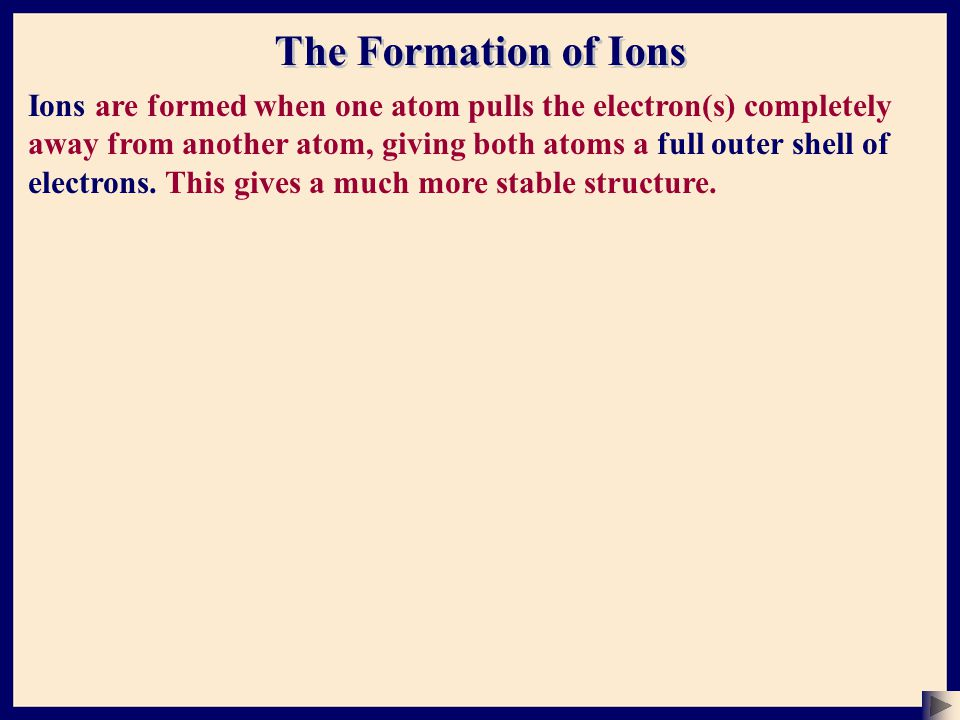 The Formation of Ions Ions are formed when one atom pulls the electron(s) completely away from another atom, giving both atoms a full outer shell of electrons.