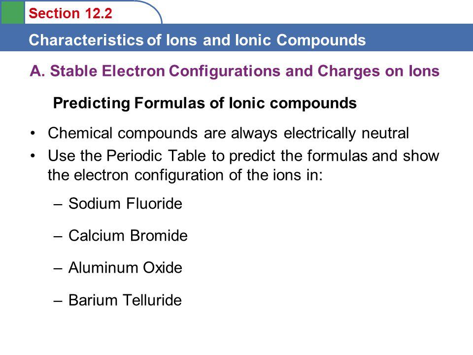 Section 12.2 Characteristics of Ions and Ionic Compounds A.