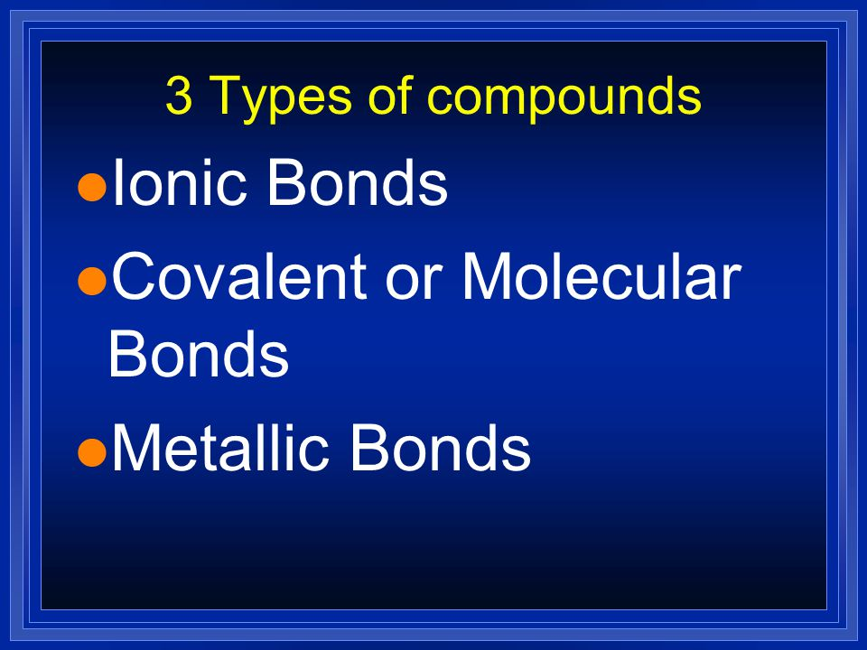Compounds l 2 atoms bonded together l Follow the Law of Definite Proportion— have a constant composition—the same # of atoms every time