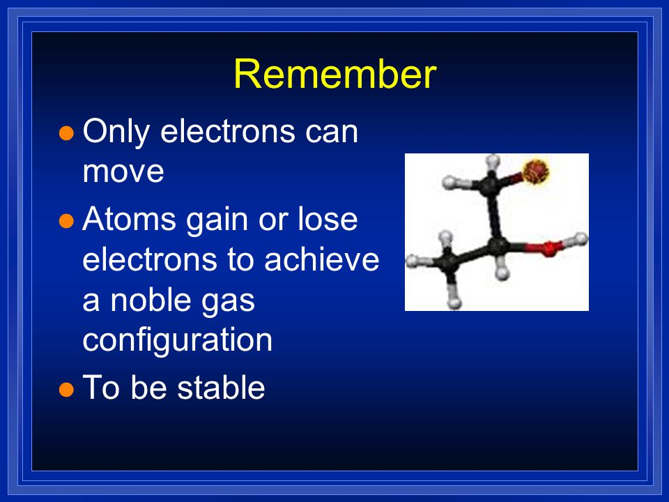 Atoms and Ions l Chemical Bond —force that holds 2 atoms together l Atoms are neutral=same number of protons as electrons l Ion—atom that has lost or gained electrons (it has a charge of + or -)