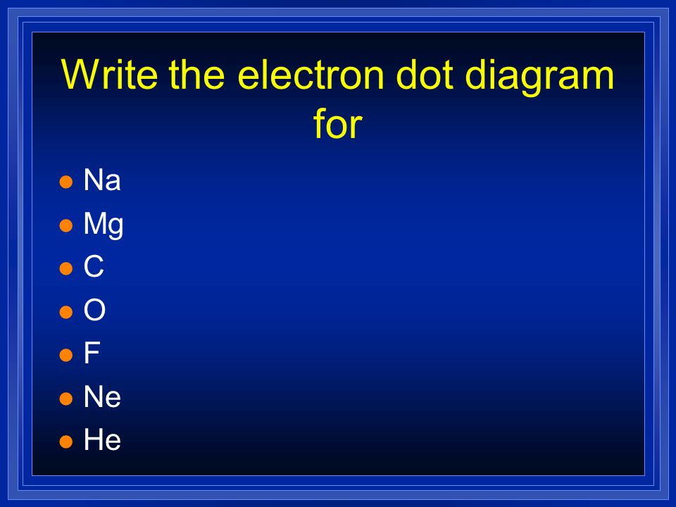 The Electron Dot diagram for Nitrogen l Nitrogen has 5 valence electrons.