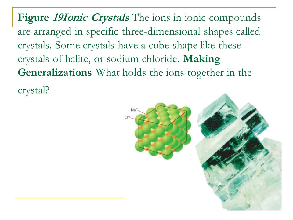 Figure 19Ionic Crystals The ions in ionic compounds are arranged in specific three-dimensional shapes called crystals.